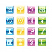 Aqua software icons. Vector file has layers, all icons in four versions are included.