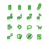 green mobile phone icons