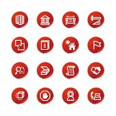 red sticker building icons