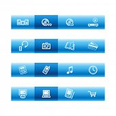 Blue bar home electronics icons