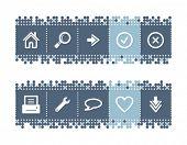 Постер, плакат: Синие точки бар с веб иконки Включены все иконки в двух версиях векторный файл имеет слоя