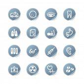autocolante azul medicina ícones