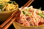 pic of thai food  - Thai style fried noodles in a bowl on a black background