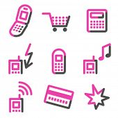Mobile phone web icons, pink contour series
