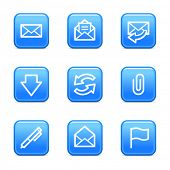 E-mail web icons, blue glossy buttons series