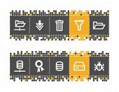 Server web icons on grey and orange dots bar. Vector file has layers, all icons in two versions are included.