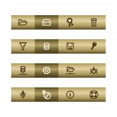 Server web icons on bronze bar. Vector file has layers, all icons in two versions are included.