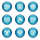 Communication web icons, blue glossy sphere series