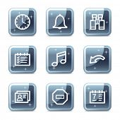 Organizer web icons, square blue mineral buttons series