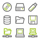 Drives and storage web icons, green and gray contour series