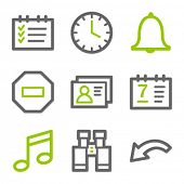 Organizer web icons, green and gray contour series