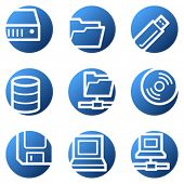 Drives and storage web icons, blue circle series