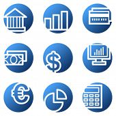 Finance web icons, blue circle series