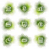 Finance web icons, green dots series