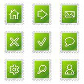 Basic web icons, green stamp series