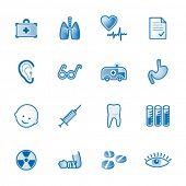 Série de ícones, azul medicina web