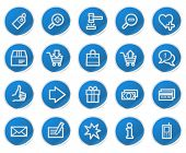 Shopping web icons, blue sticker series