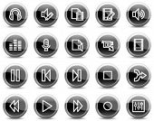 Audio video edit web icons, black glossy circle buttons series