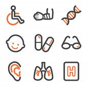 Medicine web icons set 2, orange and gray contour series