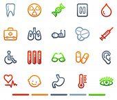 Ícones da web de medicina, série de símbolos de cor