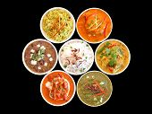 Assortment Of Indian Dishes On A Black Background