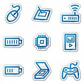 Electronics web icons set 2, blue contour sticker series