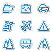 Travel web icons, blue contour sticker series