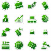 Business web icons, green sticker series