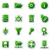 Server web icons, green sticker series