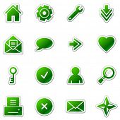 Web web icons, green sticker series