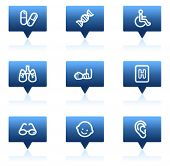 Medicine web icons set 2, blue speech bubbles sticker series