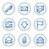 E-mail web icons, white circle buttons series