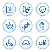 Medicine web icons set 2, white circle buttons series