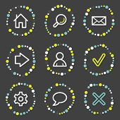 Basic web icons, color dots series
