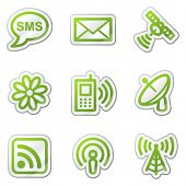 Communication web icons, green contour sticker series