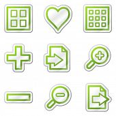 Image viewer web icons, green contour sticker series