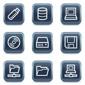 Drives and storage web icons, mineral square buttons series