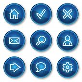 Basic web icons, blue circle buttons