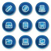 Drives and storage web icons, blue circle buttons
