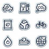 Ecology web icons set 4, deep blue contour sticker series