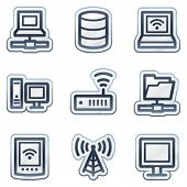 Network web icons, deep blue contour sticker series