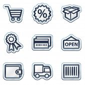 Warenkorb Web Icons Set 2, tiefblauen Kontur Aufkleber-Serie