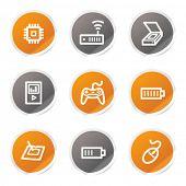 Electronics web icons set 2, orange and grey stickers