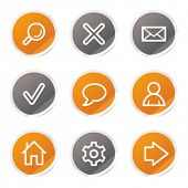 Basic web icons, orange and grey stickers