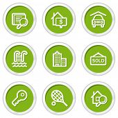 Real estate web icons, green circle buttons