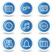 Organizer web icons, blue glossy circle buttons