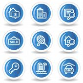 Real estate web icons, blue glossy circle buttons
