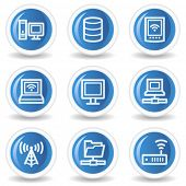 Network web icons, blue glossy circle buttons