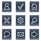 Basic web icons, navy stamp series
