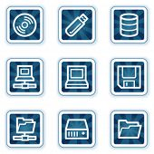 Drives and storage web icons, navy square buttons